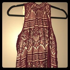 Maroon & Tan Halter Top